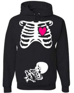 Halloween NON Maternity Pullover Hoodie Costume   Pregnant Skeleton X Ray   Rib Cage and Baby   Funny Baby Shower Gift (Medium): Clothing