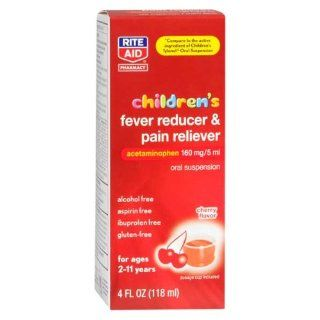 Rite Aid Children's Acetaminophen, Non Aspirin, 80 mg, Cherry Flavor, Oral Suspension Liquid, 4 oz: Health & Personal Care