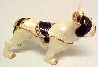 Jeweled French Bulldog Trinket Box Crystals Bull Dog   Decorative Boxes