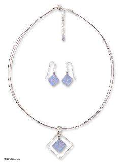 Dichroic art glass jewelry set, 'Dancing Diamond'   Modern Art Glass Pendant Jewelry Set: Jewelry