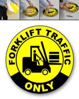 """Concrete Graphics, 17"""" Circle, """"Forklift Traffic Only"""" in/outdoor, non skid, adhesive backing: Industrial Warning Signs: Industrial & Scientific"""