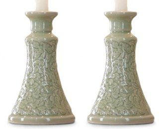 Celadon ceramic candleholders, 'Ivy Columns'   Celadon Ceramic Candle Holders (Pair)   Candle Sconces