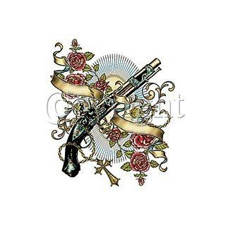 Shotgun with Roses Tattoo T shirt, Old School Vintage Tattoo T shirt, Guns and Roses T shirt Clothing