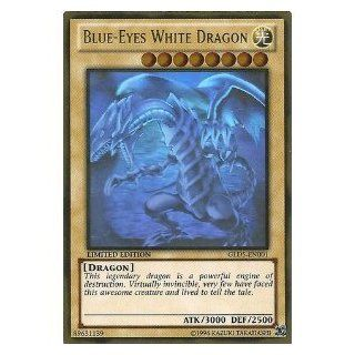 Yu Gi Oh!   Blue Eyes White Dragon (GLD5 EN001)   Gold Series: Haunted Mine   Limited Edition   Ghost/Gold Hybrid Rare: Toys & Games