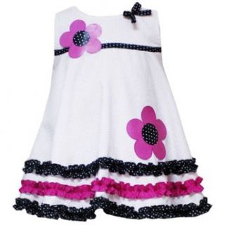 Rare Editions Girls 2T 4T White Flower Applique Ruffle Border Seersucker Dress: Playwear Dresses: Clothing