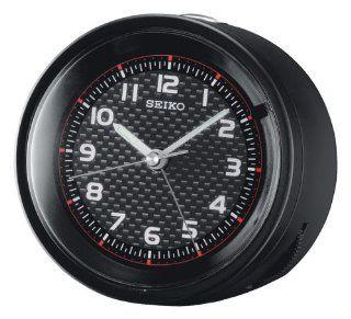 Seiko Bedside Alarm Clock Black Metallic Case Watches