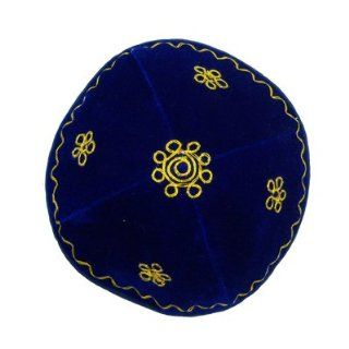 Velvet Kippah Royal Blue with Gold Embroidered Flower Design. Sold 2 Pieces Per Order. For: Bar Mitzvah Bat Mitzvah Yom Kippur Rosh Hashanah Chanukah Wedding Shabbat Seder Night Passover Purim and Other Jewish Holiday : Other Products : Everything Else