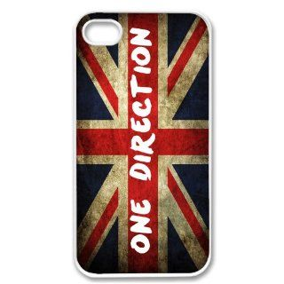 Apple iPhone 4 4G 4S British Flag One Direction Design WHITE Sides Slim HARD Case Skin Cover Protector Accessory Vintage Retro Unique AT&T Sprint Verizon Virgin Mobile: Cell Phones & Accessories