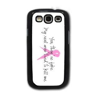 Yes, They're Fake, My Real Ones Tried to Kill Me   Breast Cancer Awareness   Samsung Galaxy S3 Cover, Cell Phone Case   Black: Cell Phones & Accessories