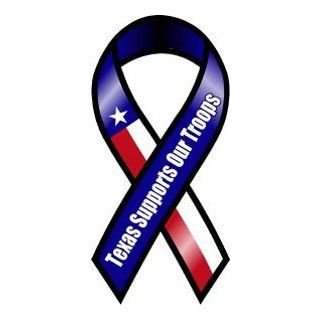 Texas Supports Our Troops Ribbon Magnets: Automotive