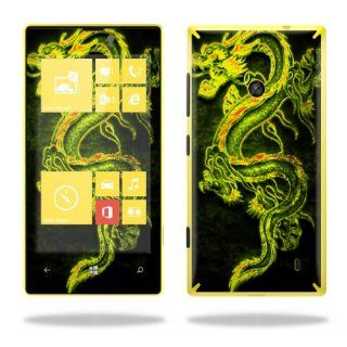 MightySkins Protective Vinyl Skin Decal Cover for Nokia Lumia 520 Cell Phone T Mobile Sticker Skins Neon Dragon: Cell Phones & Accessories