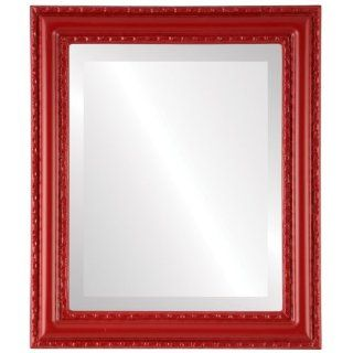Ornate wood Rectangle Beveled Wall Mirror in a Red, Green & Blue Dorset style Holiday Red Frame 16x20 outside dimensions   Wall Mounted Mirrors