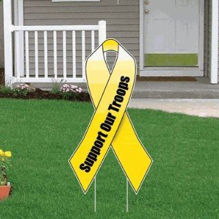Support Our Troops Yellow Ribbon Yard Sign w/ Short Stakes : Patio, Lawn & Garden