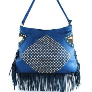 Ruby Designer Inspired Fashion Unique Golden Flat Side Detailed Rhinestone Gemstone Spike Studded Suede Fringe Solid Tote Satchel Hobo Shoulder Handbag Purse in Blue: Clothing