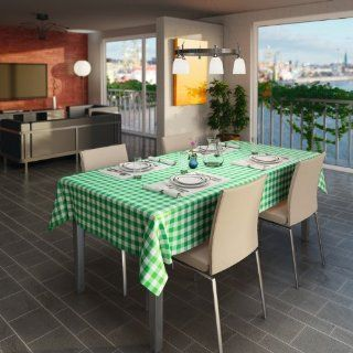GINGHAM GREEN VINYL EASY CLEAN INDOOR AND OUTDOOR TABLECLOTH PRICE PER METRE