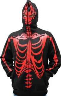 Full Zip Up Skeleton Print Adult Hooded Sweatshirt Hoodie Costume with Face Mask: Clothing