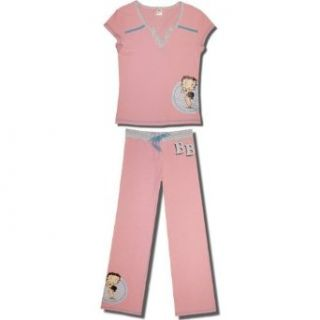 "Betty Boop ""Pretty Please?"" Cap sleeve Cotton Pajamas for Juniors in Pink/Blue   X Large at  Women�s Clothing store"