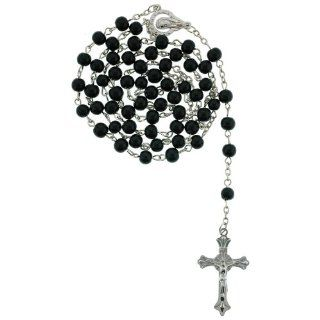 Black Beaded Link Rosary With Virgin Mary Centerpiece and 5mm Round Beads   27'' Necklace   19'' Overall Length: Jewelry