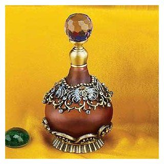"""Collectible Perfume Bottle(Purple)  Elegant Pewter Design w/Purple Frosted Glass ,4"""" H .Both Functional and Decorative for Your Home Living. Heavy Duty High End Perfume Bottle In The Market at Competitive Prices,Super Saving,100% Satisfaction Guarante"""