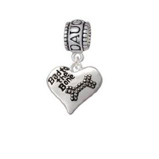 Antiqued Bad to the Bone Heart Daughter Charm Bead: Delight Jewelry: Jewelry