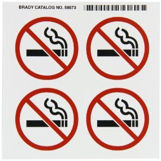 "Brady 58573 Right To Know Pictogram Labels , Red/Black On White,  2 1/4"" Width x 2 1/4"" Height,  Pictogram ""No Smoking"" (4 Per Card,  1 Card per Package): Industrial & Scientific"