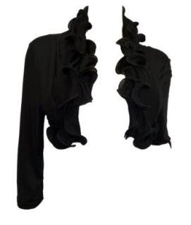 eVogues Plus size Cropped Ruffled Shawl Shrug Bolero Black Shrug Sweaters