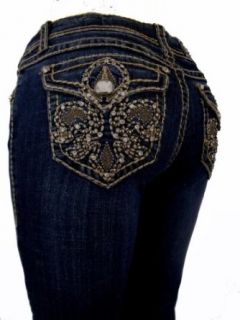 L.A. Idol Women Plus Size Capri Jeans Crystal Brown Fleur De Lis Flap Rhinestone Bold Stitch Stretch in Dark Blue Wash. at  Women�s Clothing store