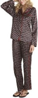 Betsey Johnson Women's Cuddly Backed Satin Pajama Set, Holey Moley Raven Black, Small at  Women�s Clothing store: