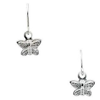 14K White Gold Youth Butterfly Shep Hook Earring: Reeve and Knight: Jewelry