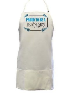 Proud To Be a Lunch Lady Full Length Apron with Pockets WHITE: Clothing