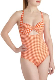 Betsey Johnson Backyard Dip One Piece  Mod Retro Vintage Bathing Suits