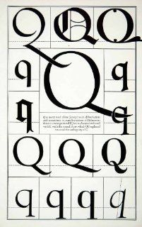 1942 Print Letter Q Decorative Graphic Design Element Hebrew Type Frederic Goudy   Relief Line block Print