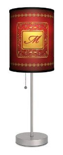 Monograms   Golden with Red Letter M Sport Silver Lamp   Table Lamps