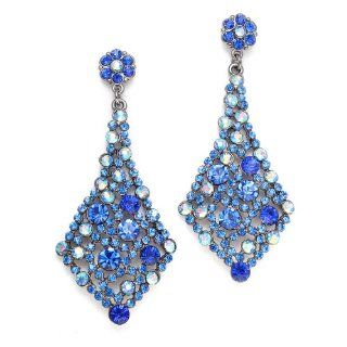 Royal Blue Crystal Bridal Weddings or Prom Bridal Wedding Earrings: Dangle Earrings: Jewelry