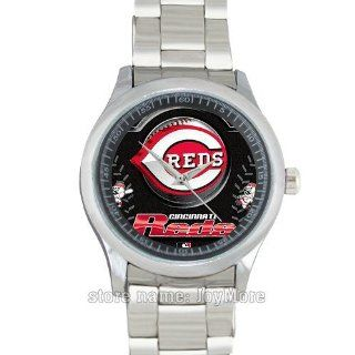 Round metal band wrist watch MLB Cincinnati Reds team logo a special present for Christmas, Thanksgiving and birthday by JoyMore : Sports Fan Watches : Sports & Outdoors