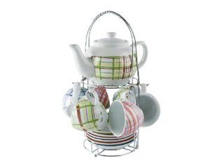 Present Time Multi Colored Tartan Porcelain Tea Set with Stand Kitchen & Dining
