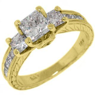18k Yellow Gold 2.29 Carats Princess Cut Past Present Future 3 Stone Diamond Ring: TheJewelryMaster: Jewelry