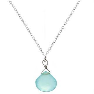 Ashanti Sterling Silver Chalcedony Briolette Pendant Necklace (Sri Lanka) Pendants