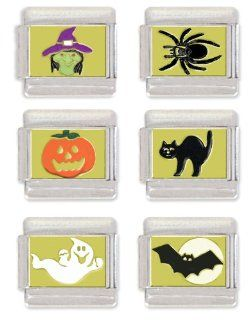 Witch, Spider, Jack O Lantern, Black Cat, Ghost and Flying Bat Italian Charm Link Set: Jewelry