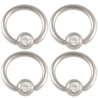 "captive bead ring 18g small septum jewelry cute (1mm), 1/4"" Inches (6mm) long   316L Surgical Stainless Steel eyebrow lip bars ear tragus earrings ball closure bcr captive bead with Swarovski Crystals Clear lot AILS   Pierced Body Piercing   Set of 4:"