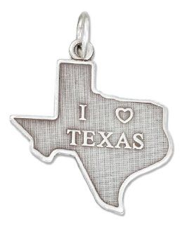 "Sterling Silver Antiqued Texas State Charm with ""I Heart Texas"": Jewelry"