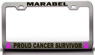 MARABEL PROUD CANCER SURVIVOR Female Cancer Survivor Metal License Plate Frame Style #1 Chrome: Automotive