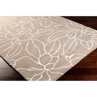 Sanderson Hand tufted Contemporary Grey Floral Rug (8' x 11') Surya 7x9   10x14 Rugs