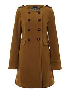 Lands End Women`s regular luxe wool collarless coat Light Brown