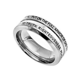 "Christian Mens Stainless Steel Abstinence Ephesians 6:10 18 ""Put On The Full Armor Of God That You May Be Able To Stand Firm Against The Schemes Of The Devil. Truth, Righteousness, Peace, Faith, Salvation, The Word, Prayer"" Chastity Industrial Ba"