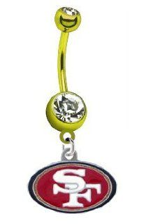 San Francisco 49ers NFL PREMIUM Gold Titanium Anodized Sexy Belly Navel Ring: Jewelry