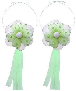 Flower Tiebacks Green Multi Layered Nylon Daisy Flowers Tieback Pair / Set Decorations   Window Curtains Holder Holders Tie Backs to Decorate for a Baby Nursery Bedroom, Girls Room Wall Decor, Wedding Birthday Party, Bridal Baby Shower, Bathroom, Curtain,