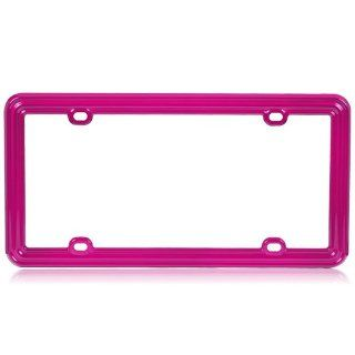 Plastic License Plate Frame in Solid Hot Pink Color : Automotive License Plate Frames : Car Electronics
