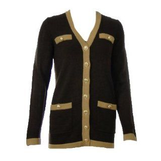 Sutton Studio Womens Tipped Cardigan With Belt Petite Small Chocolate/Camel at  Women�s Clothing store