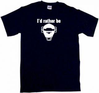 I'd Rather Be Umpire Catchers Mask Logo Kids Tee Shirt: Clothing